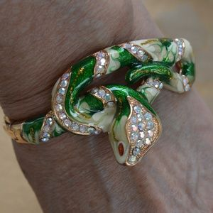 Rhinestone, Green Enamel Snake Bangle Bracelet